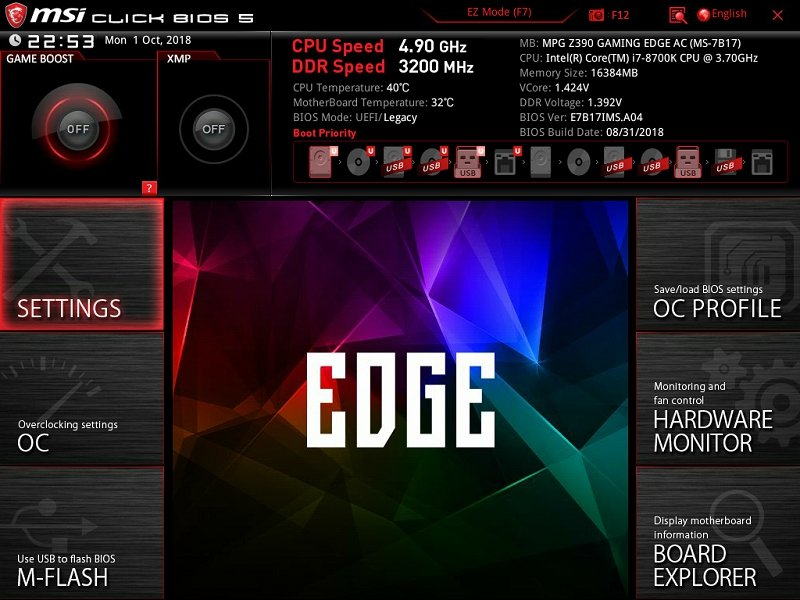 Обзор материнской платы MSI MPG Z390 Gaming Edge AC