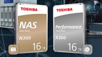 Photo of Компания Toshiba добавила модели объёмом 16 ТБ к линейкам жёстких дисков N300 и X300
